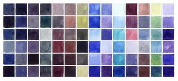 Quadrados frios das cores da aguarela abstrata fotografia de stock royalty free