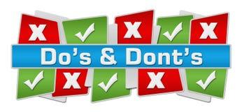 Quadrados vermelhos de Dos Donts Up Down Green Imagem de Stock