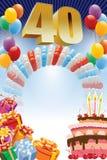 Quadragésimo cartaz do aniversário ilustração royalty free