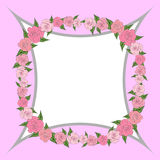 A quadrangular concave frame decorated with wreath of roses with leaves of different sizes with space for text. wedding Royalty Free Stock Images