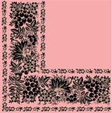 Quadrant of black ornament on pink. Illustration with black flower quadrant ornament on pink background Stock Photos