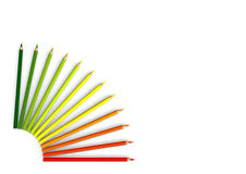 Quadrant of crayons. Colored green to red Royalty Free Stock Photos