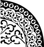 Quadrant ornament in black. Illustration with black decoration on white background Stock Photos