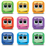 Quadrant shaped smiling balls. In different colors Royalty Free Stock Photo