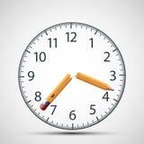 Quadrante dell'orologio con una matita rotta Tensione e sforzo nervosi Dea Fotografia Stock Libera da Diritti