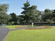 Quadrante & fiori verdi di Sun degli alberi dei giardini scozzesi di estate Immagini Stock