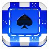 Quadrat-APP-Ikone Kasino-Poker-Chip Vectors 3d Lizenzfreies Stockfoto