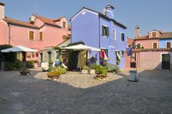 Quadrat in Burano Lizenzfreie Stockfotos