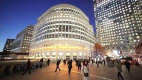 Quadrat Canary Wharfs London Kanada bis zum Nacht stock video