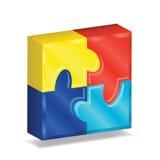 Quadrat des Puzzlespiel-3D Stockfoto