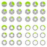 Quadrat eingestellt von den verschiedenen runden grafischen Kreisdiagrammen Grün und Grau vektor abbildung