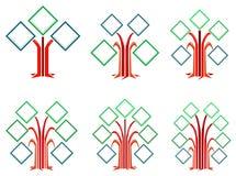 Quadrat gestaltet Baumauslegungen Stockbild