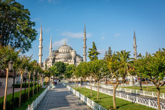 Quadrat nahe Sultan Ahmet Mosque oder blauer Moschee Istanbul, die Türkei Stockfotos