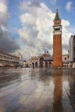 Quadrat Sans Marco nach Regen, Venedig Stockfotografie
