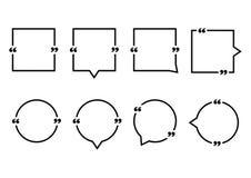 Quadrat und runde Spracheblasen zitieren Auch im corel abgehobenen Betrag lizenzfreie abbildung