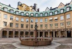 Quadrat von Branting in der alten Stadt, Stockholm Stockbild
