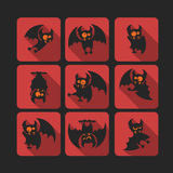 Quadrate flat vector icon set with vampire bat for Halloween. Stock Images