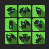 Quadrate flat vector icon set with vampire bat for Halloween. Royalty Free Stock Photography