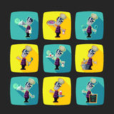 Quadrate flat vector icon set with vampire cook and Halloween ki Royalty Free Stock Images