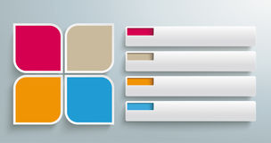 Quadrates redondo abas de 4 partes Fotografia de Stock
