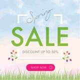 Quadratfahne des Frühlings-Verkaufssozialen netzes lizenzfreies stockfoto