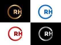 Quadratform Buchstabe-Logo Entwurf relativer Feuchtigkeit in der silbernen Goldfarbe stock abbildung