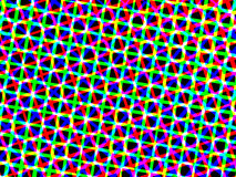 Quadrati al neon sulla carta da parati nera della priorità bassa Immagine Stock