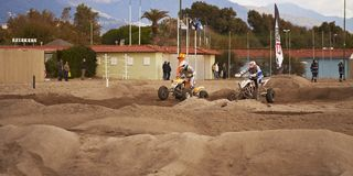 Quadrati alla corsa di motocross Fotografia Stock Libera da Diritti
