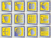 Quadrati blu con i segni Immagini Stock Libere da Diritti