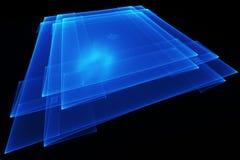 Quadrati blu sul nero Fotografia Stock