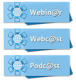 Quadrati di podcast di Webinar Webcast Fotografia Stock Libera da Diritti