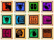 Quadrati dorati con i segni colorati Immagine Stock Libera da Diritti