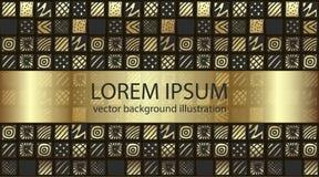 Quadrati modellati colore disegnato a mano dell'oro di pendenza illustrazione di stock