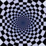 Quadrati neri e blu che cadono insieme in foro infinito illustrazione di stock