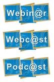 Quadrati tecnici di podcast di Webinar Webcast Fotografie Stock