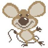 Quadrati tirati della siluetta del topo del ratto di Brown, pixel Topo del personaggio dei cartoni animati fotografia stock