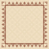 Quadratic vector beige card with vintage frame Stock Photography