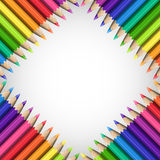 Quadratic Frame of Realistic Colorful Pencils on White. Background. Template of Slanting Line of Sharp Colored Pencils for Universal Application Stock Photography