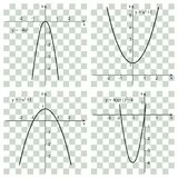 Quadratic function, parabola. Line graph on the checker. Educational concept Stock Images