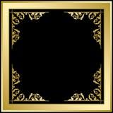 Quadratic ram med prydnaden - guld och svartvektorbakgrund Royaltyfri Fotografi