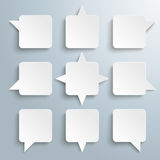 9 Quadratic Speech Bubbles. 4 rectangle speech balloons on the gray background Royalty Free Stock Photography