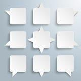 9 Quadratic Speech Bubbles Royalty Free Stock Photography
