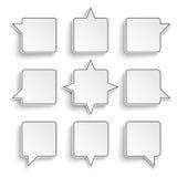 9 Quadratic Speech Bubbles White Background Stock Photo