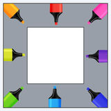 Quadratic Template for Text of Realistic Colorful Markers. Royalty Free Stock Photo