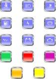 Quadratische Armaturenbrett-Tasten Stockfoto