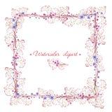 Quadratische blaue und rosa Rahmen witn mit Blumenbpanches Cliparts für Heiratsdesign, künstlerische Schaffen Lizenzfreies Stockfoto