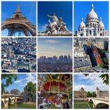 Quadratische Collage von verschiedenen Marksteinen in Paris Stockbild