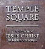 Quadratische Eintrittsplakette des Tempels, Salt Lake City Lizenzfreie Stockfotos