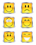 Quadratische Emoticons Lizenzfreies Stockfoto