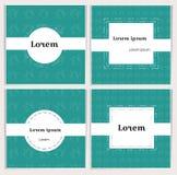 Quadratische Fahnen der Knickentenfarbe mit linearen Teekannen auf dem Hintergrund Leerraum f?r Text Einfache, stilvolle Karten f vektor abbildung